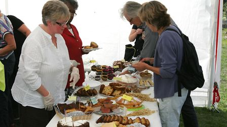 Home-made cakes on sale.