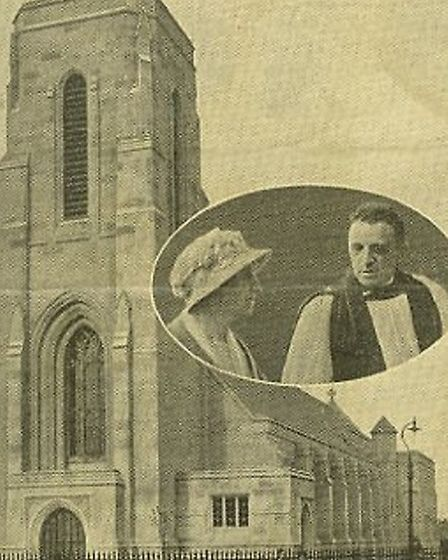 St Alban's Church, in Vincent Road, Dagenham, with (insert) Miss Wills and Rev Fred Smith.