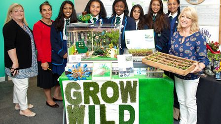 The Ursuline Academy students with their bee project