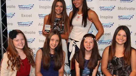 Jack Petchey Award winners from Fun and Funky School of Dance with Jenny Pacey, who presented the aw