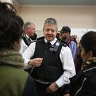 Inspector Lands from Redbridge Police talking to people about what it is like to be a part of the po