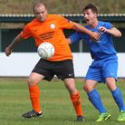 Toran Senghore (left) scored twice for 10-man Barkingside to pick up a point in a 2-2 draw against W