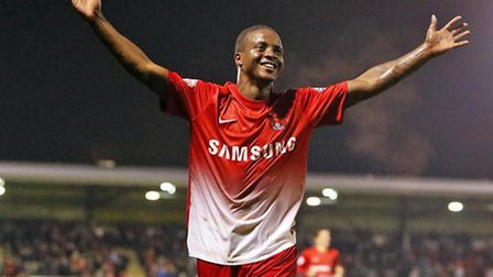 Kevin Lisbie celebrates scoring his and Orient's second goal in the 5-1 win over Notts County last n