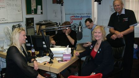 Kas Aston, Eve Conway-Ghazi and Philip Lester in the studio.