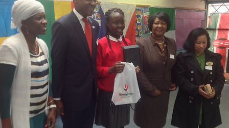 Faith Falayi recieves free Kindle at Windsor Primary School