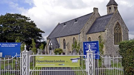 The Open House sign on St Peter's Church in Newbury Park