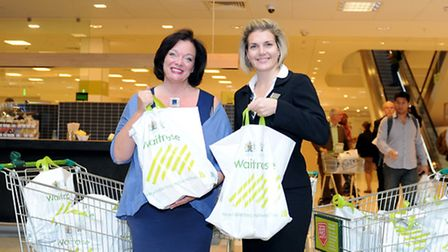 Lyn Brown MP (left) and manager at Waitrose Canary Wharf