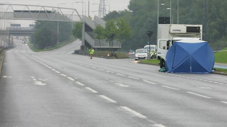 Investigating officers closed the A13 travelling westbound. Pic: Steve Poston.