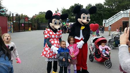 Mickey and Minnie Mouse visited the primary school