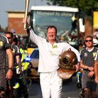 Lloyd Scott during the Olympic Torch Relay in Haringey