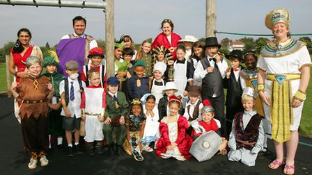 Harold Court Primary School children and teachers are dressed up as history characters.