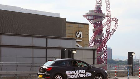 Shaan Johal, 11, drove on a special course in a car park at Westfield Stratford City in the shadow