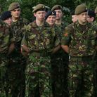 Soldiers at the church