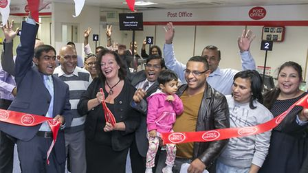 West Ham MP Lyn Brown at the re-opening of the Post Office in Forest Gate