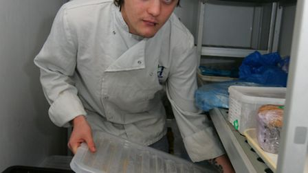 Chef Lewis Page in the Mawney Arms freezer that was broken into