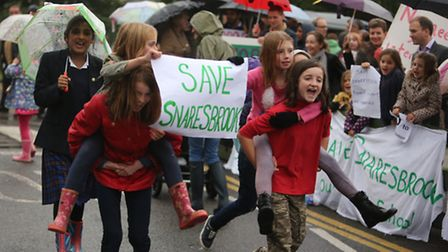 Parents and students protesting at the school about Meadow Primary School possibly becoming an acade