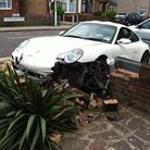 The car after hitting the wall in Chadwell Heath Lane.