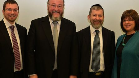 Chieft Rabbi Ephraim Mirvis (second from left) visited Chigwell and Hainault Synagogue