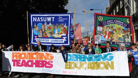 Teaschers demonstrate in central London about cuts to education