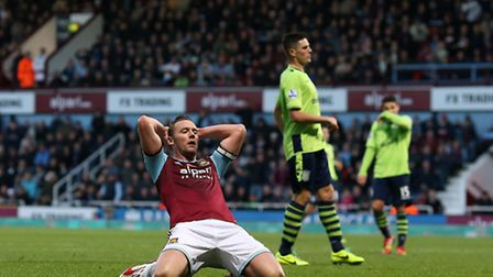 West Ham United's Kevin Nolan reacts to a missed chance on goal during the Barclays Premier League m