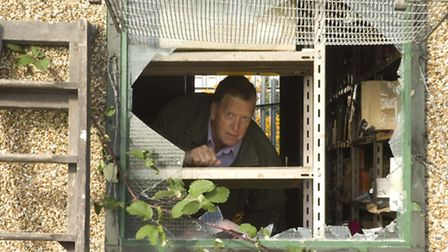 Alan Wagstaff inspects the damage of the Hainault allotment