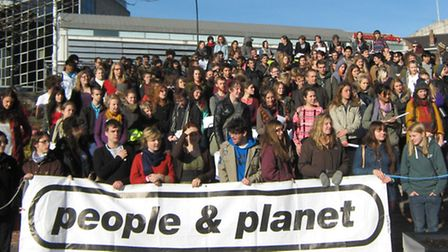 Students at Newham Sixth Form College supporting People and Planet