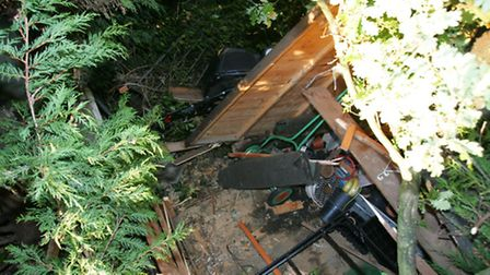 A neighbour's shed was crushed by the tree