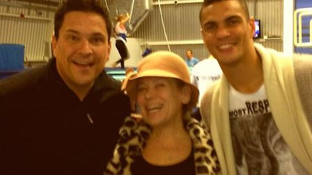 Anthony Ogogo (right) with fellow Splash! celebrities Dom Joly (left) and Tina Malone (centre).