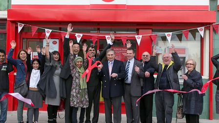 Customers celebrate the official opening with Ilford North MP Lee Scott Cllr Thomas Chan, Cllr David