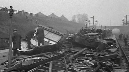 The aftermath of the Gidea Park train crash in 1947. Stills: British Pathe