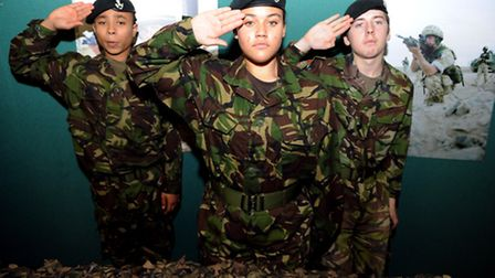 Cadets from 46 Rifles, left to right: Evan Arndell, Tamika Williams and Craig bryant