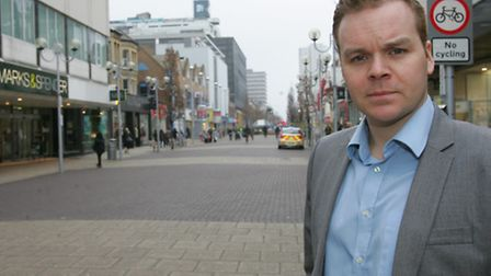 Ben Collins, Business Improvement District manager, in High Road