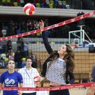 The Duchess of Cambridge, Patron of SportsAid, plays voleyball in a SportsAid Athlete Workshop at th
