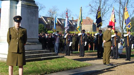 The remembrance service at the Ilford War Memorial last year
