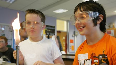 Dylan Patrick and Joshua Clover in the science lab at Sanders Draper School.