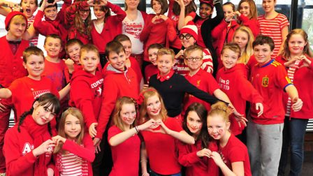 Students at Benjamin Britten High join the British Heart Foundation's 'Rock up in Red Day'. Pictur