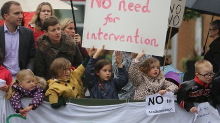 Parents and students protested last month against plans to turn Snaresbrook Primary into an academy