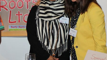 Finalists Monica Turcan and Halima Khan from Newham who are among the group of women graduates Pictu