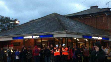 Commuters stranded outside Woodford Station as the Central line shuts (pic: Kate Nelson)