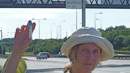 Jenny Bates, Friends of the Earth London campaigner, in Newham Way on the A13 near the North Circula