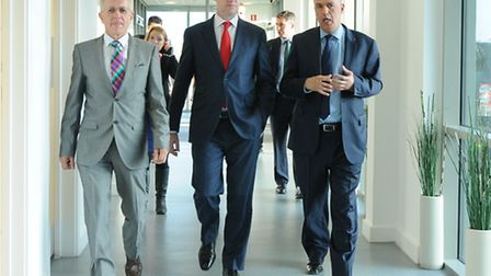 Pictured during the visit are, left to right Mr Robert Egli, Managing Director, Buhler Limited, Nick
