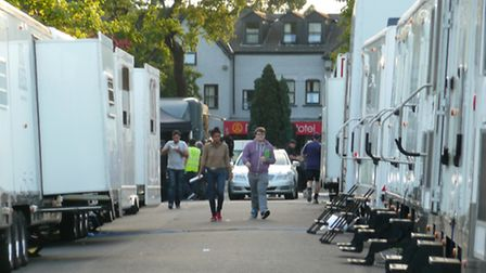 BBC trailers in Valentines Park, where a special series of The Great British Bake Off is being filme
