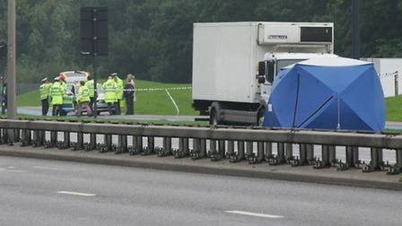 The scene of the accident on the A13 in East Ham. Pic: Steve Poston.