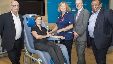 Donor care supervisor Jean Jude with donor Jane Radford and councillors Andrew Baikie, Neil Wilson a