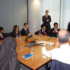 Students from Little Ilford School getting a taste of city business