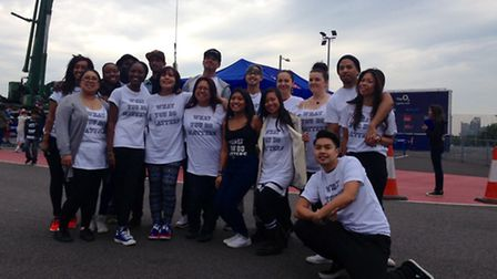Some of the young people who took part in the bungee jump at the O2