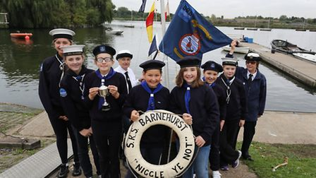 The sea rangers launching their new boat at Fairlop Waters.