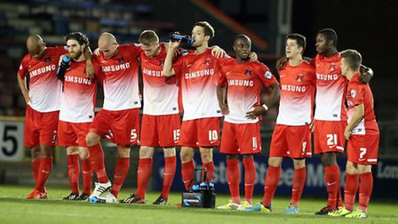 Orient's players line up during their penalty shoot-out win over Coventry (Pic: Simon O'Connor)