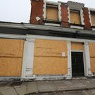 The Lord Napier pub on Green Lane in Ilford with no roof and windows smashed.
