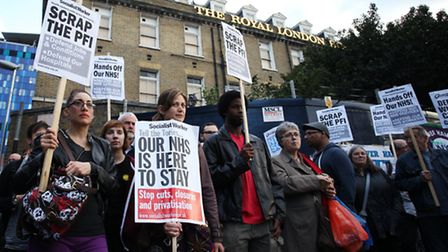 Healthworkers staged a protest outisde The Royal London Hospital in Whitechapel, to raise concerns